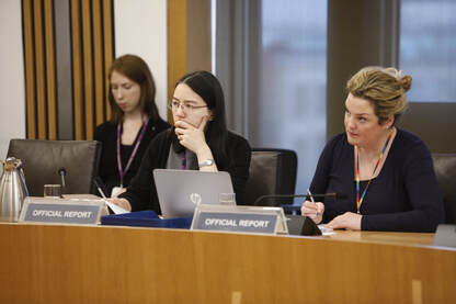 Reporters logging a Scottish Parliament committee meeting