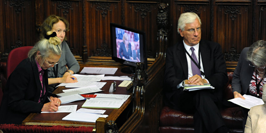 Reporters taking notes in House of Lords chamber