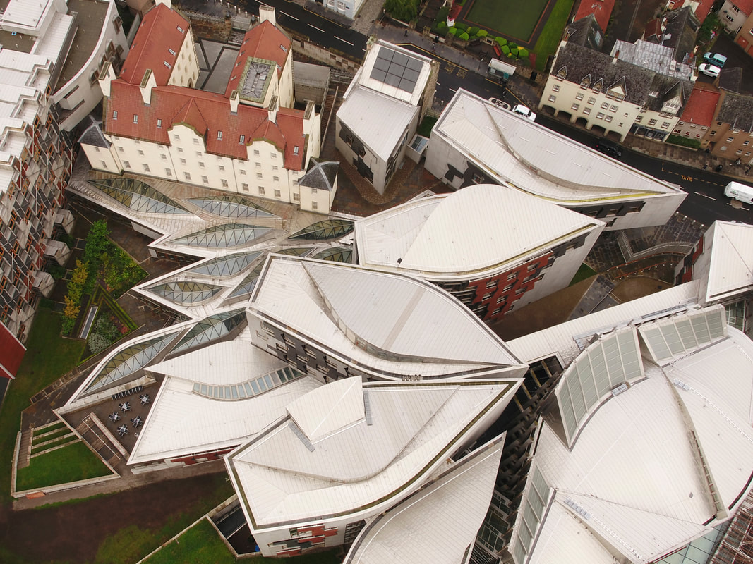 Drone image of the Scottish Parliament campus